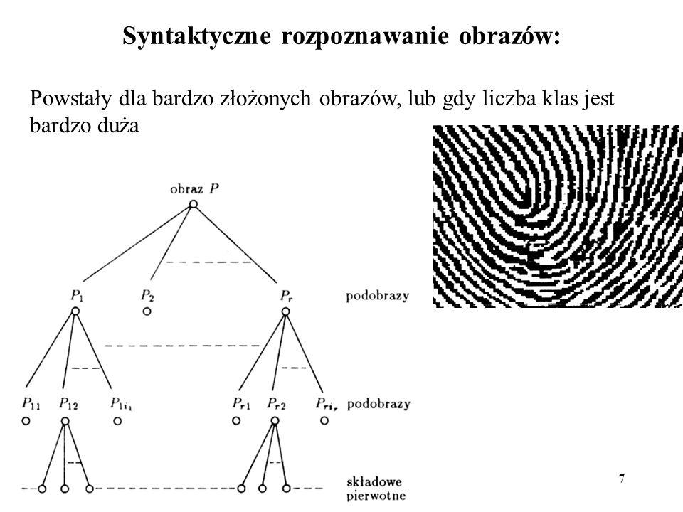 8 Metody ciągowe: Zbiór składowych pierwotnych: Zbiór obrazów poddanych opisowi strukturalnemu: 1 - abcd 2 - aabccd 3 - aaabcccd...