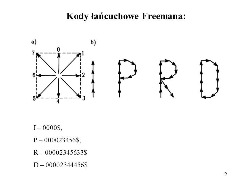 9 Kody łańcuchowe Freemana: I – 0000$, P – 000023456$, R – 00002345633$ D – 00002344456$.