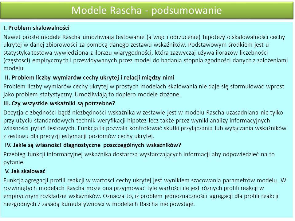 Modele Rascha - podsumowanie I.