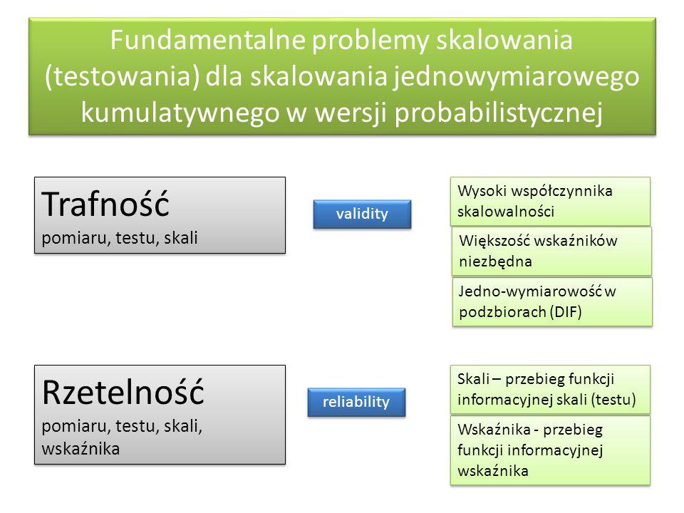 Fundamentalne problemy skalowania (testowania) dla skalowania jednowymiarowego kumulatywnego w wersji probabilistycznej Trafność pomiaru, testu, skali validity Jedno-wymiarowość w podzbiorach (DIF) Wysoki współczynnika skalowalności Większość wskaźników niezbędna Rzetelność pomiaru, testu, skali, wskaźnika reliability Wskaźnika - przebieg funkcji informacyjnej wskaźnika Skali – przebieg funkcji informacyjnej skali (testu)