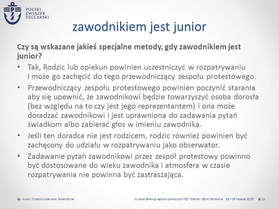 zawodnikiem jest junior Czy są wskazane jakieś specjalne metody, gdy zawodnikiem jest junior.