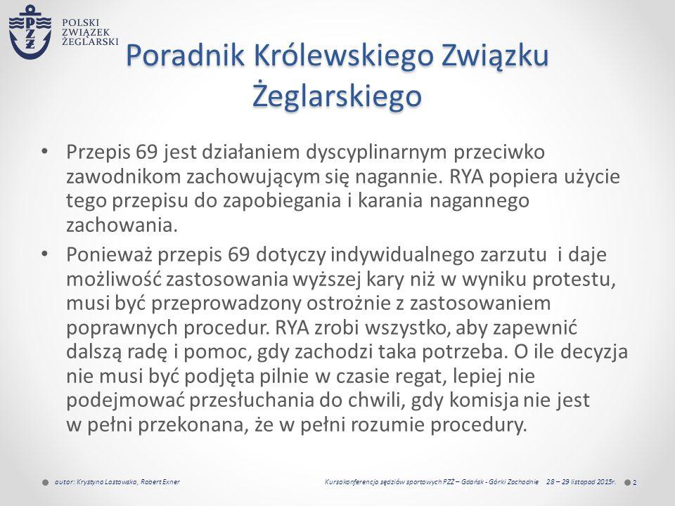 Poradnik Królewskiego Związku Żeglarskiego Przepis 69 jest działaniem dyscyplinarnym przeciwko zawodnikom zachowującym się nagannie.