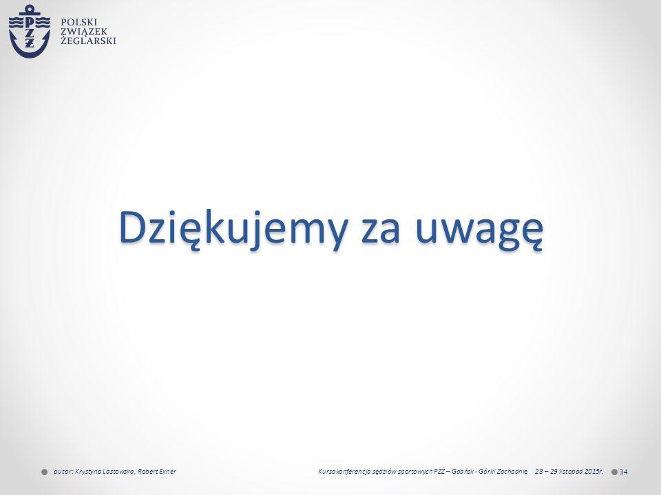 Dziękujemy za uwagę 34 autor: Krystyna Lastowska, Robert Exner Kursokonferencja sędziów sportowych PZŻ – Gdańsk - Górki Zachodnie 28 – 29 listopad 2015r.