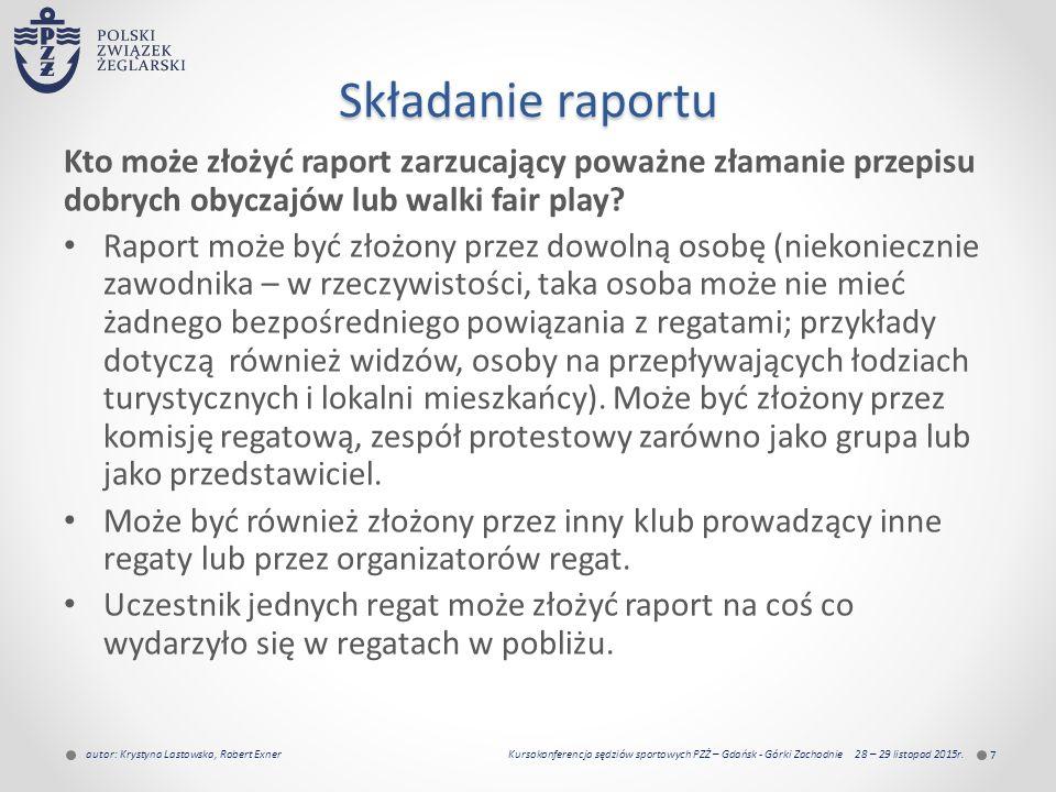 Składanie raportu Kto może złożyć raport zarzucający poważne złamanie przepisu dobrych obyczajów lub walki fair play.
