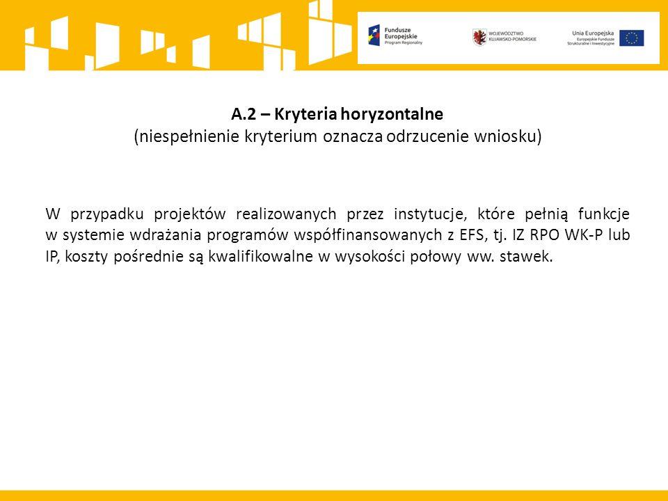 A.2 – Kryteria horyzontalne (niespełnienie kryterium oznacza odrzucenie wniosku) W przypadku projektów realizowanych przez instytucje, które pełnią funkcje w systemie wdrażania programów współfinansowanych z EFS, tj.