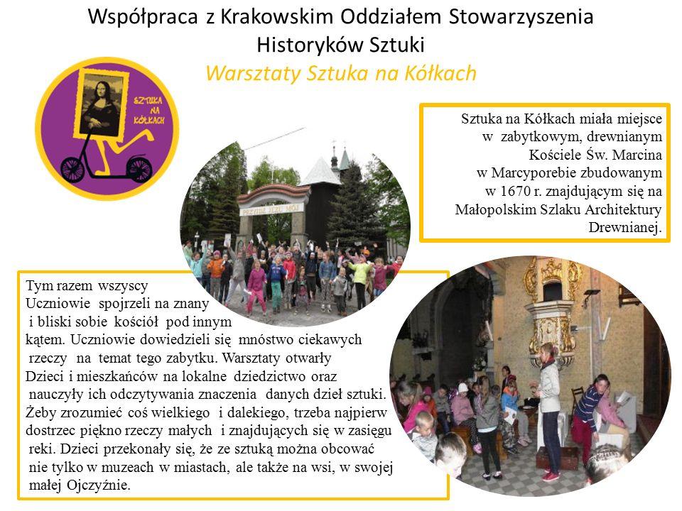 Współpraca z Krakowskim Oddziałem Stowarzyszenia Historyków Sztuki Warsztaty Sztuka na Kółkach Tym razem wszyscy Uczniowie spojrzeli na znany i bliski sobie kościół pod innym kątem.