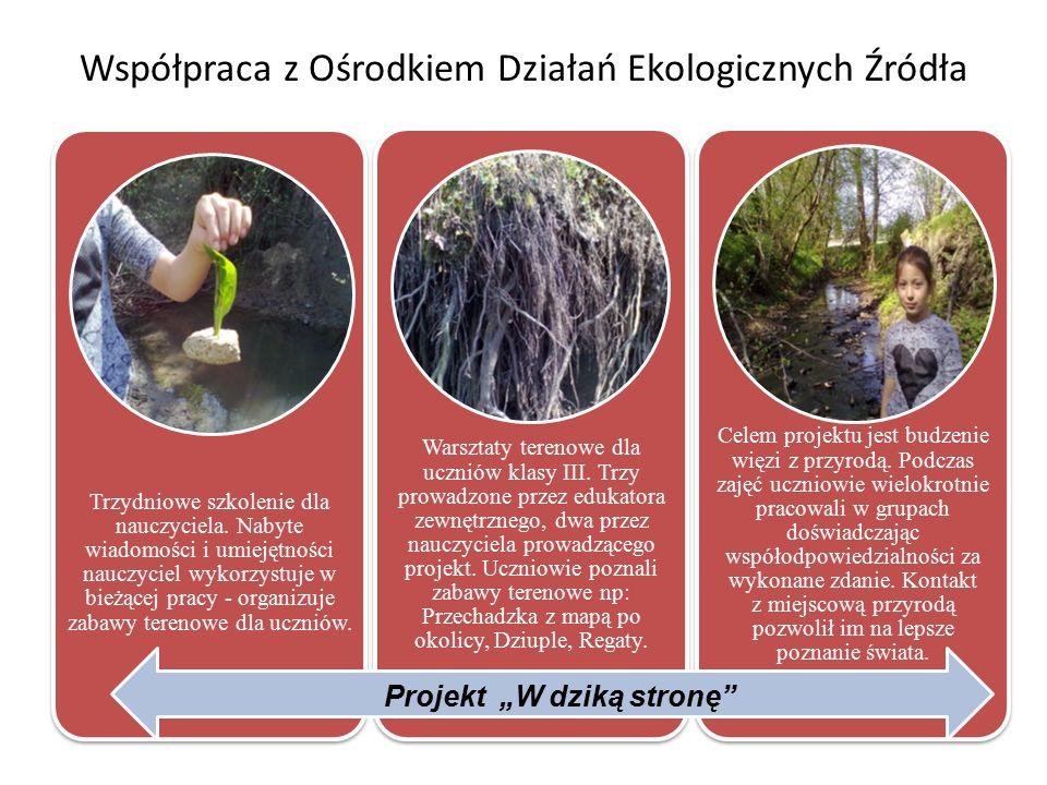 Współpraca z Ośrodkiem Działań Ekologicznych Źródła Trzydniowe szkolenie dla nauczyciela.