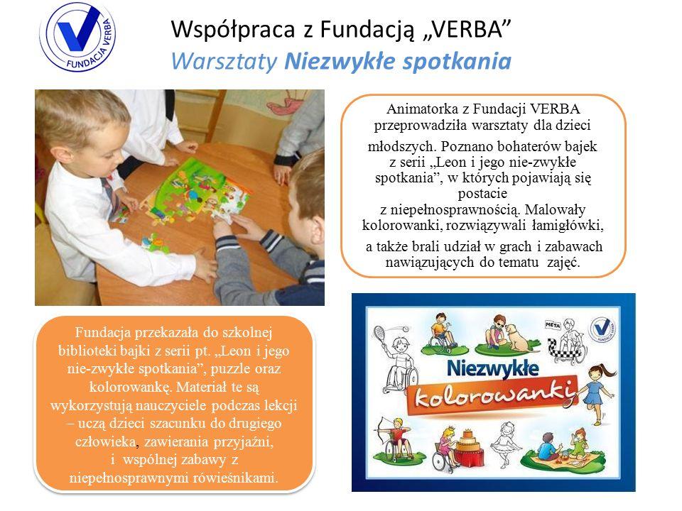 """Współpraca z Fundacją """"VERBA Warsztaty Niezwykłe spotkania Animatorka z Fundacji VERBA przeprowadziła warsztaty dla dzieci młodszych."""