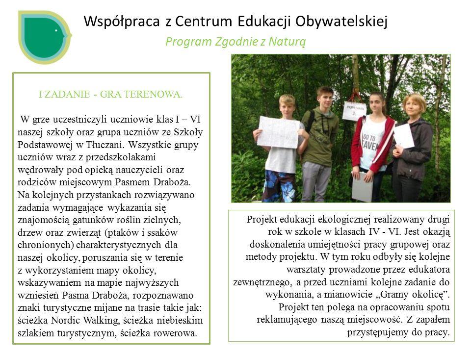 Współpraca z Centrum Edukacji Obywatelskiej Program Zgodnie z Naturą I ZADANIE - GRA TERENOWA.