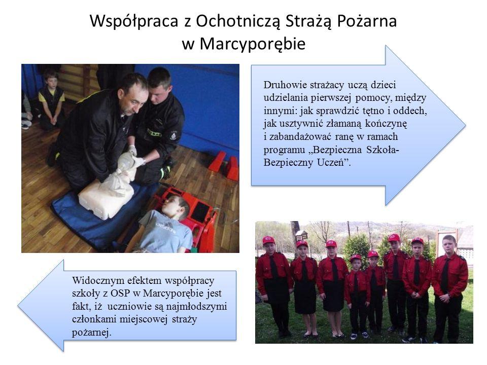 Współpraca z Ochotniczą Strażą Pożarna w Marcyporębie Widocznym efektem współpracy szkoły z OSP w Marcyporębie jest fakt, iż uczniowie są najmłodszymi członkami miejscowej straży pożarnej.