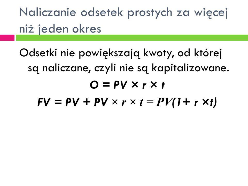 Naliczanie odsetek prostych za więcej niż jeden okres Odsetki nie powiększają kwoty, od której są naliczane, czyli nie są kapitalizowane. O = PV × r ×