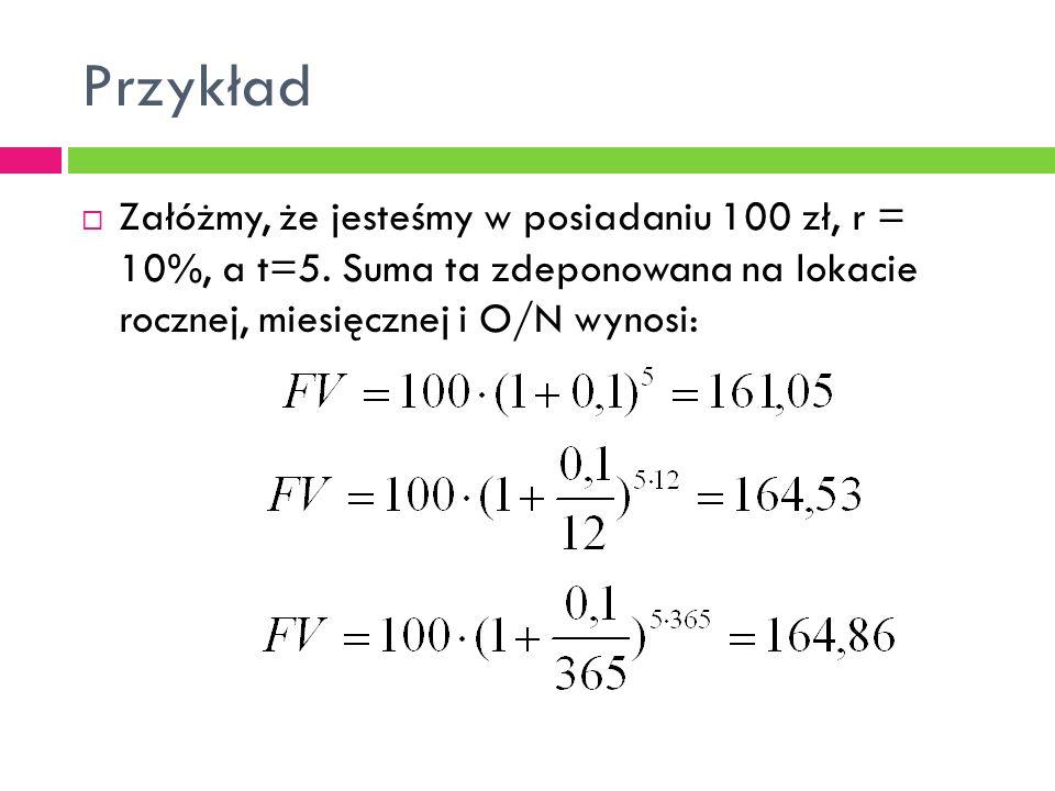 Przykład  Załóżmy, że jesteśmy w posiadaniu 100 zł, r = 10%, a t=5. Suma ta zdeponowana na lokacie rocznej, miesięcznej i O/N wynosi: