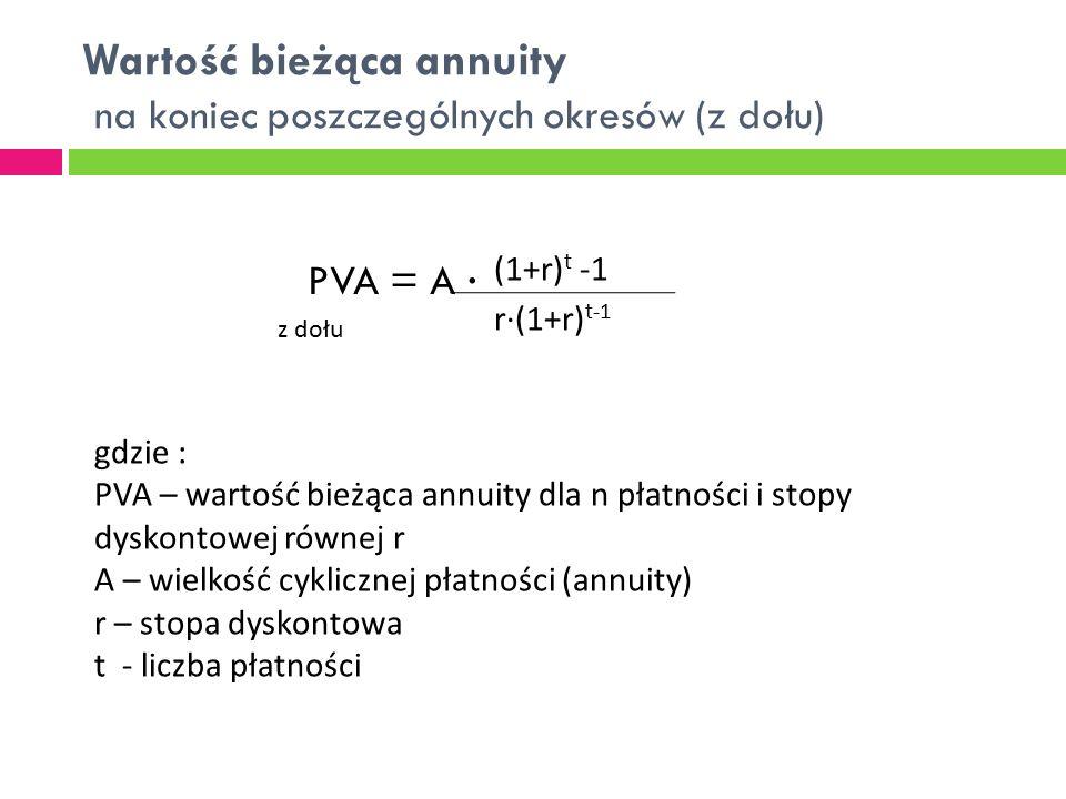 Wartość bieżąca annuity na koniec poszczególnych okresów (z dołu) PVA = A ∙ (1+r) t -1 r∙(1+r) t-1 gdzie : PVA – wartość bieżąca annuity dla n płatnoś