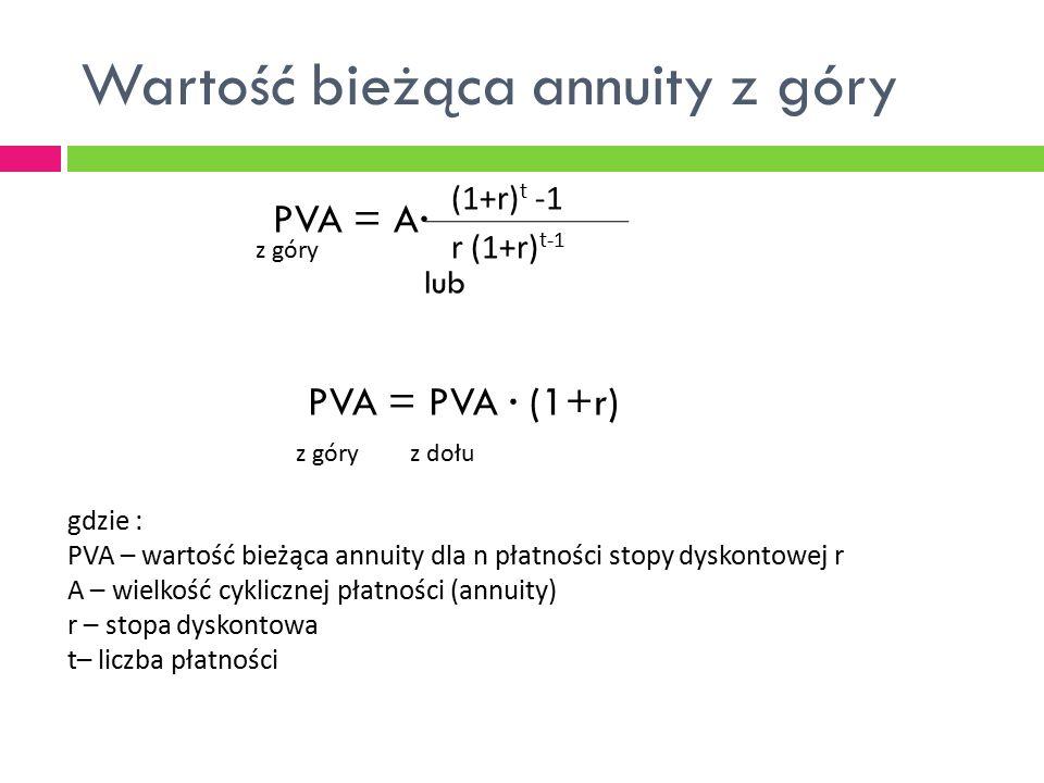 Wartość bieżąca annuity z góry PVA = A∙ lub PVA = PVA ∙ (1+r) (1+r) t -1 r (1+r) t-1 z góry z dołu gdzie : PVA – wartość bieżąca annuity dla n płatnoś