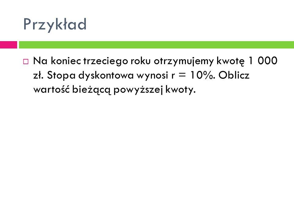 Przykład  Na koniec trzeciego roku otrzymujemy kwotę 1 000 zł. Stopa dyskontowa wynosi r = 10%. Oblicz wartość bieżącą powyższej kwoty.
