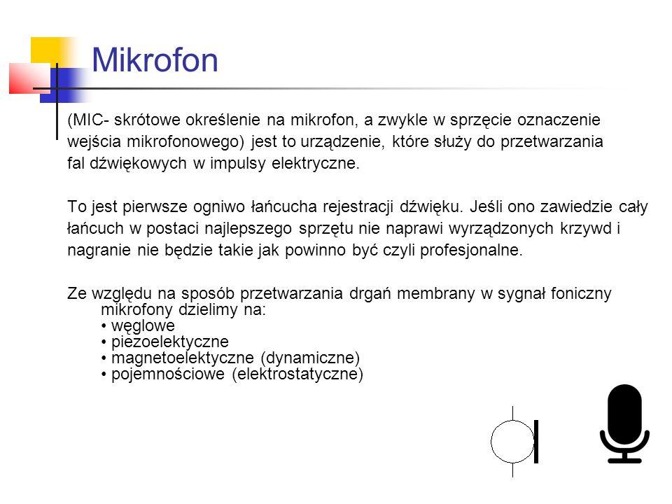 Mikrofon (MIC- skrótowe określenie na mikrofon, a zwykle w sprzęcie oznaczenie wejścia mikrofonowego) jest to urządzenie, które służy do przetwarzania