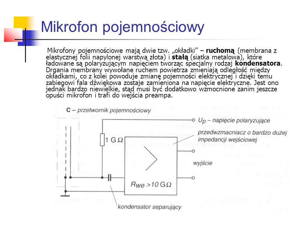 """Mikrofon pojemnościowy Mikrofony pojemnościowe mają dwie tzw. """"okładki"""" – ruchomą (membrana z elastycznej folii napylonej warstwą złota) i stałą (siat"""