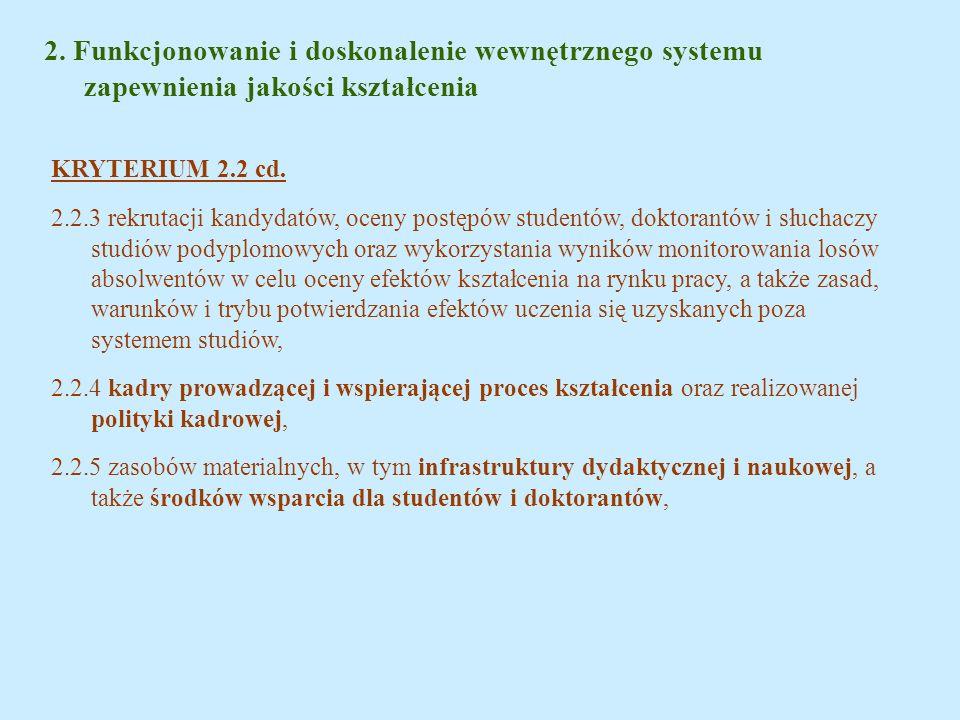 2. Funkcjonowanie i doskonalenie wewnętrznego systemu zapewnienia jakości kształcenia KRYTERIUM 2.2 cd. 2.2.3 rekrutacji kandydatów, oceny postępów st