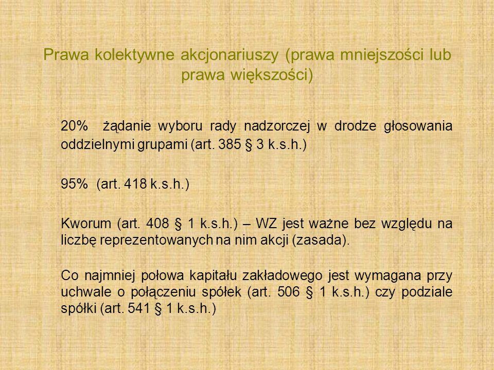 Prawa kolektywne akcjonariuszy (prawa mniejszości lub prawa większości) 20% żądanie wyboru rady nadzorczej w drodze głosowania oddzielnymi grupami (ar