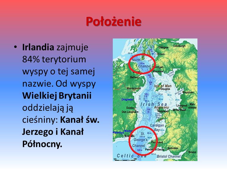 Położenie Irlandia zajmuje 84% terytorium wyspy o tej samej nazwie.