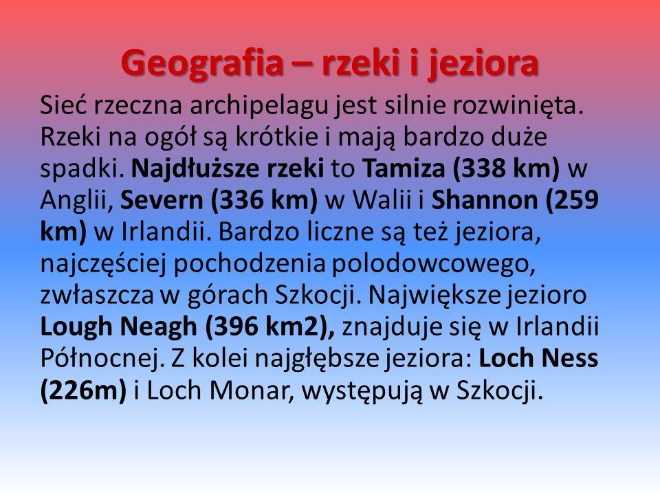 Geografia – rzeki i jeziora Sieć rzeczna archipelagu jest silnie rozwinięta.