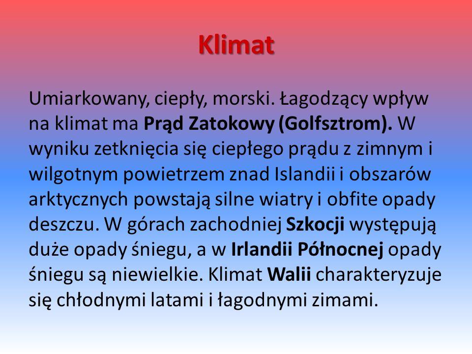 Klimat Umiarkowany, ciepły, morski.Łagodzący wpływ na klimat ma Prąd Zatokowy (Golfsztrom).