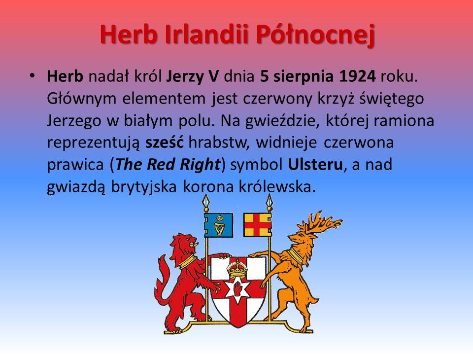 Herb Irlandii Północnej Herb nadał król Jerzy V dnia 5 sierpnia 1924 roku.