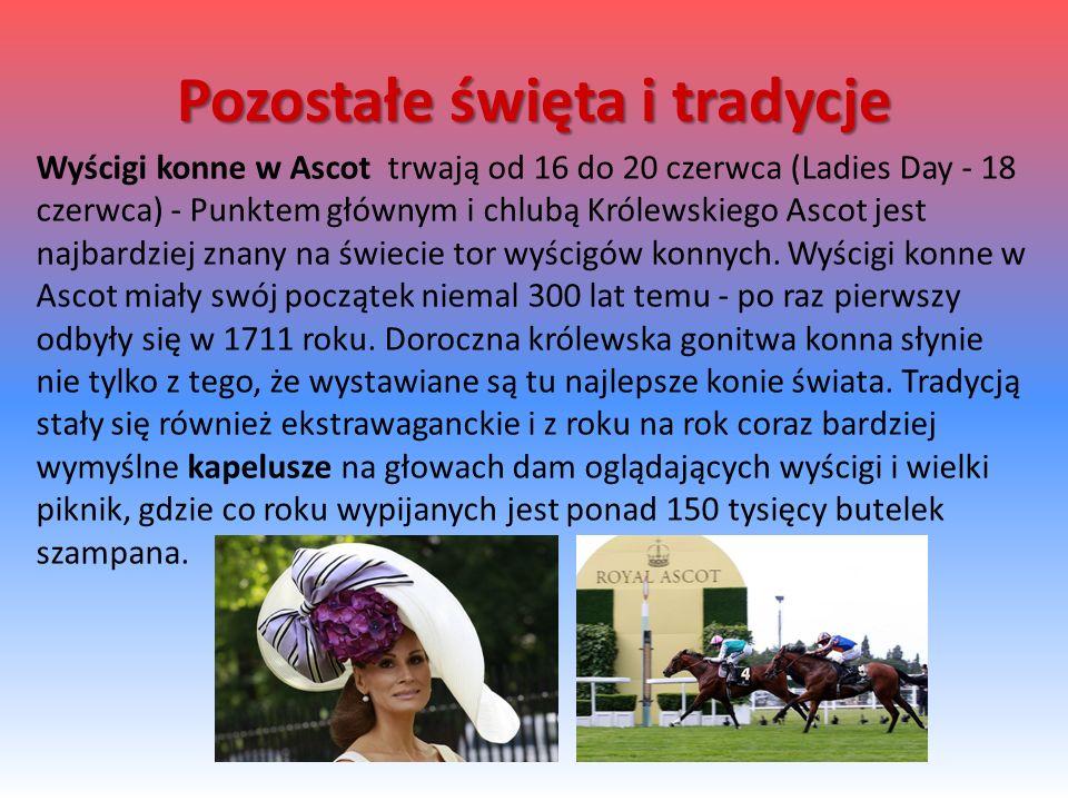 Wyścigi konne w Ascot trwają od 16 do 20 czerwca (Ladies Day - 18 czerwca) - Punktem głównym i chlubą Królewskiego Ascot jest najbardziej znany na świecie tor wyścigów konnych.