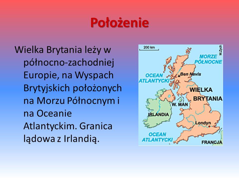 Położenie Wielka Brytania leży w północno-zachodniej Europie, na Wyspach Brytyjskich położonych na Morzu Północnym i na Oceanie Atlantyckim.