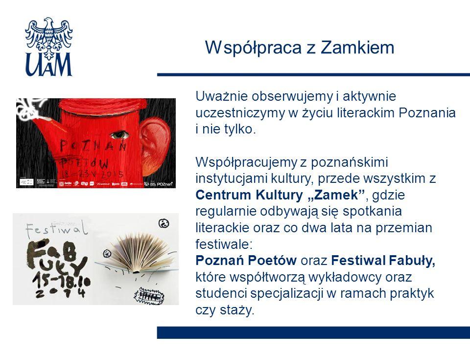 Współpraca z Zamkiem Uważnie obserwujemy i aktywnie uczestniczymy w życiu literackim Poznania i nie tylko. Współpracujemy z poznańskimi instytucjami k
