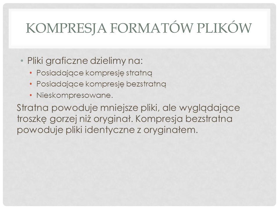 KOMPRESJA FORMATÓW PLIKÓW Pliki graficzne dzielimy na: Posiadające kompresję stratną Posiadające kompresję bezstratną Nieskompresowane. Stratna powodu