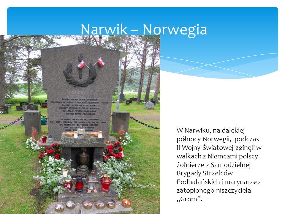 """Narwik – Norwegia W Narwiku, na dalekiej północy Norwegii, podczas II Wojny Światowej zginęli w walkach z Niemcami polscy żołnierze z Samodzielnej Brygady Strzelców Podhalańskich i marynarze z zatopionego niszczyciela """"Grom ."""