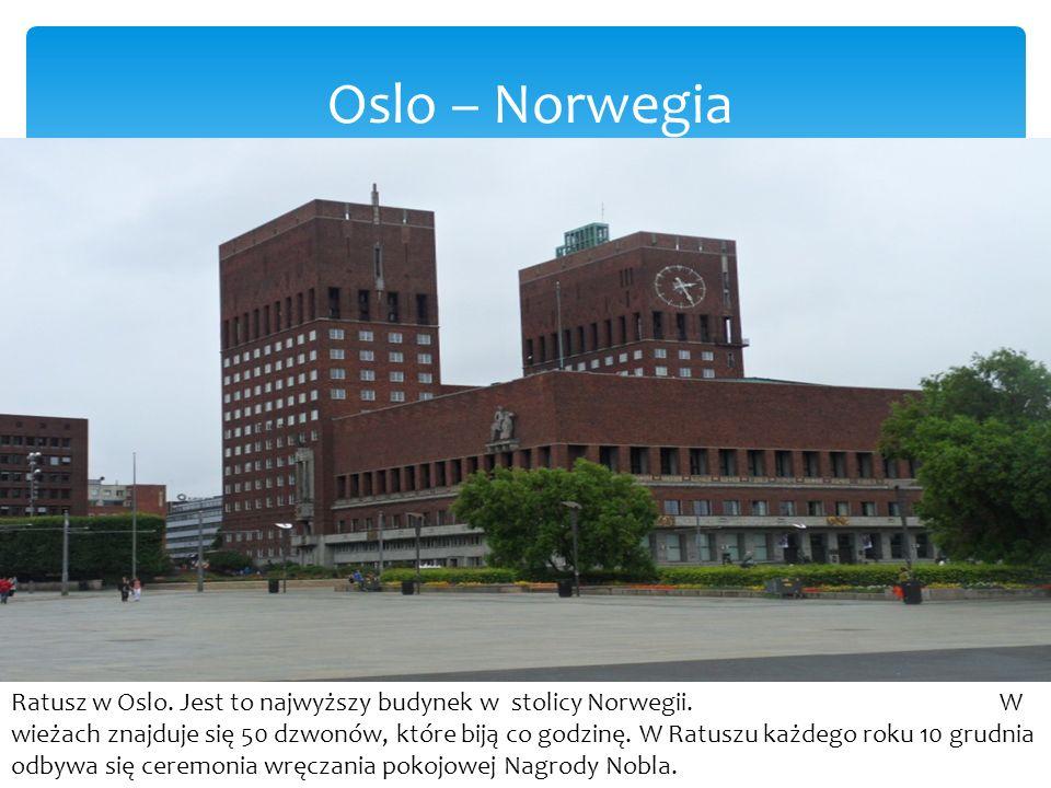 Oslo – Norwegia Ratusz w Oslo.Jest to najwyższy budynek w stolicy Norwegii.