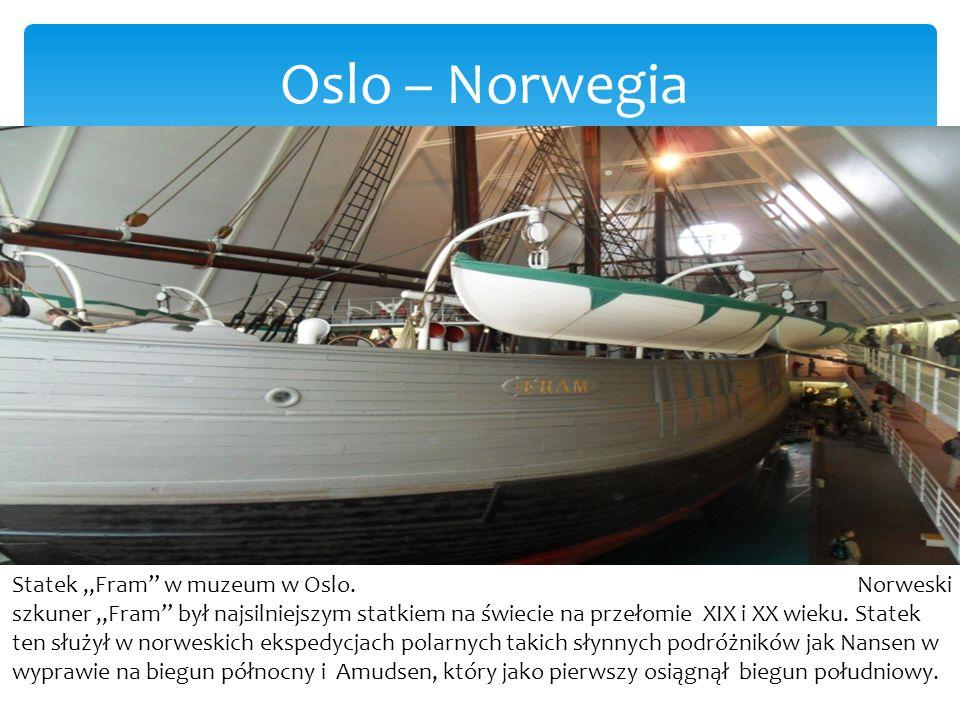 """Oslo – Norwegia Statek """"Fram w muzeum w Oslo."""