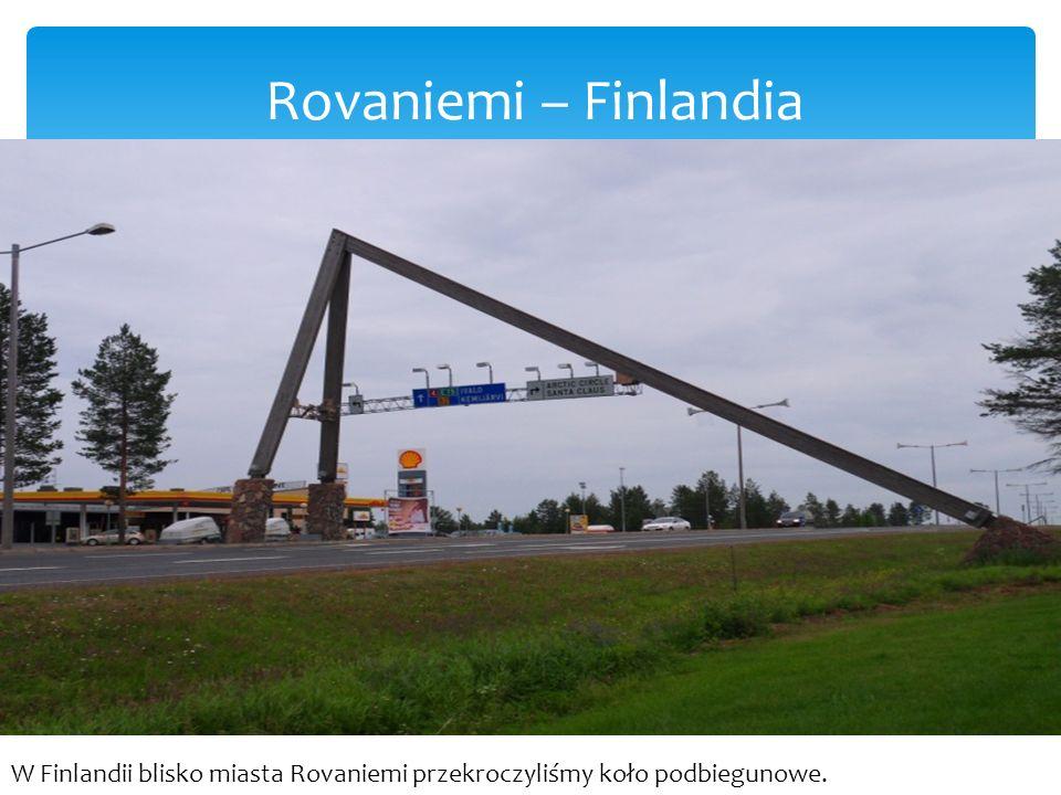 Rovaniemi Na drodze jest zaznaczony szczególny równoleżnik - koło podbiegunowe.