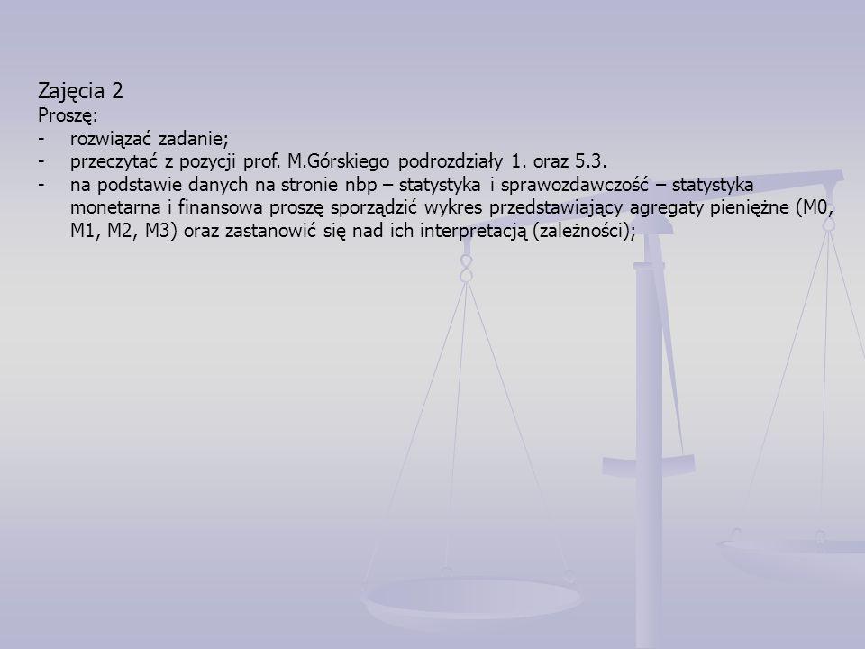 Zajęcia 13-14 Proszę: - rozwiązać poniższe zadanie; -przeczytać w pozycji prof.