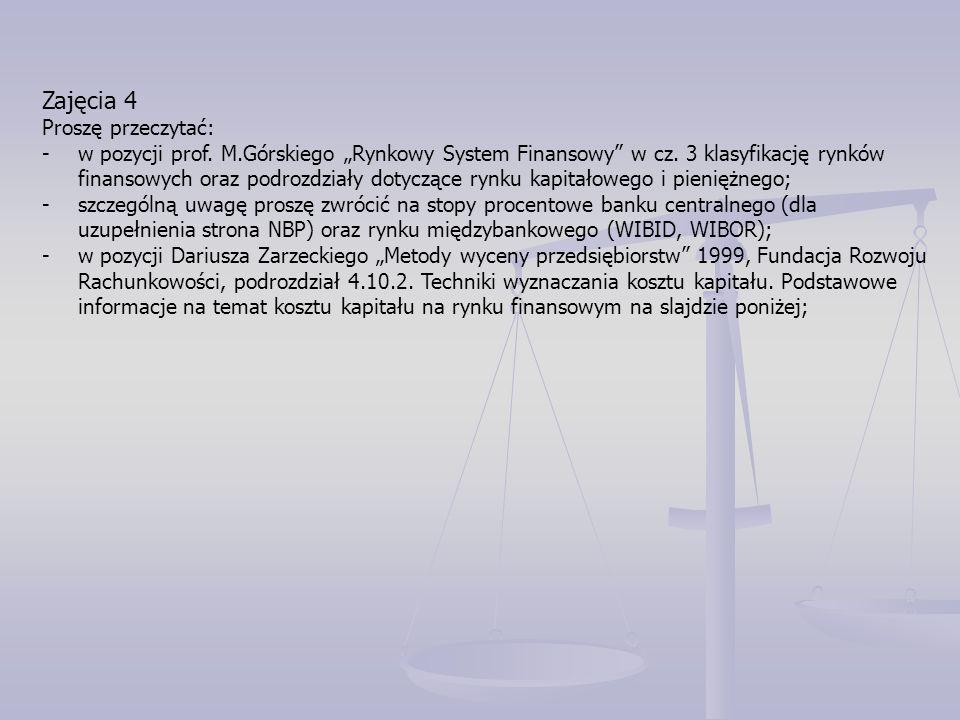 """Zajęcia 4 Proszę przeczytać: -w pozycji prof. M.Górskiego """"Rynkowy System Finansowy w cz."""