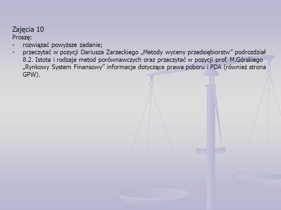 """Zajęcia 10 Proszę: -rozwiązać powyższe zadanie; -przeczytać w pozycji Dariusza Zarzeckiego """"Metody wyceny przedsiębiorstw podrozdział 8.2."""
