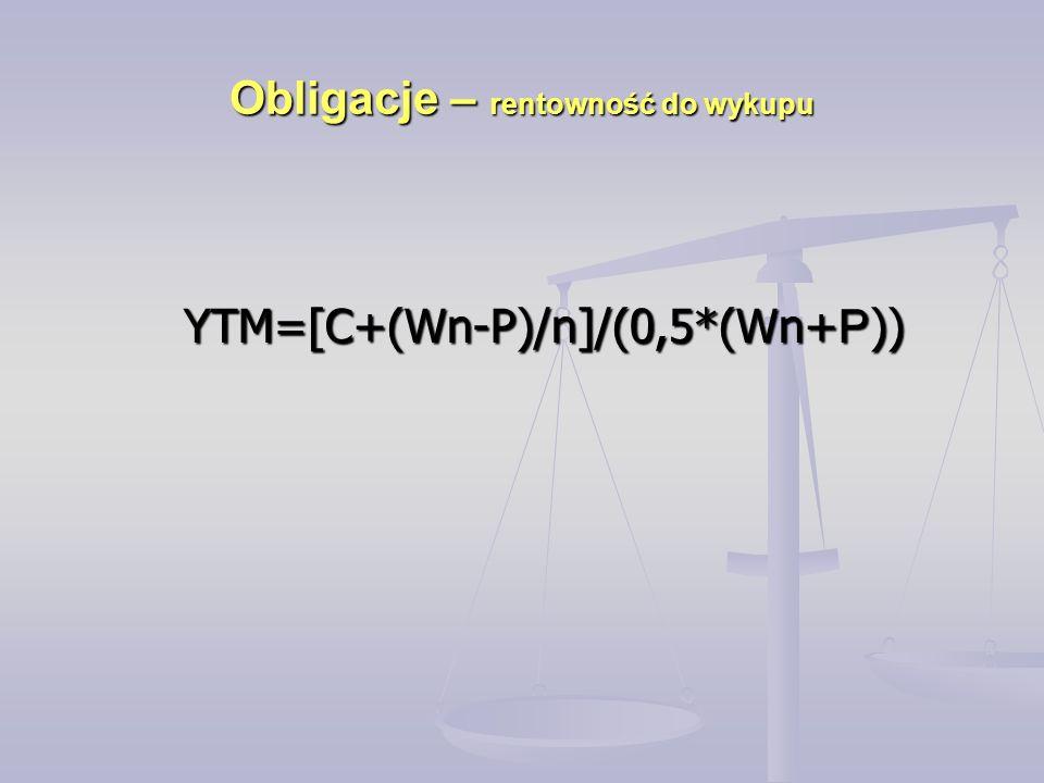 Obligacje – rentowność do wykupu YTM=[C+(Wn-P)/n]/(0,5*(Wn+ P )) YTM=[C+(Wn-P)/n]/(0,5*(Wn+ P ))