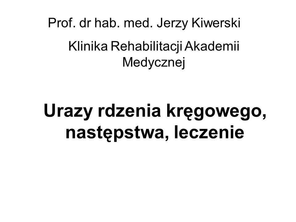 Urazy rdzenia kręgowego, następstwa, leczenie Prof. dr hab. med. Jerzy Kiwerski Klinika Rehabilitacji Akademii Medycznej