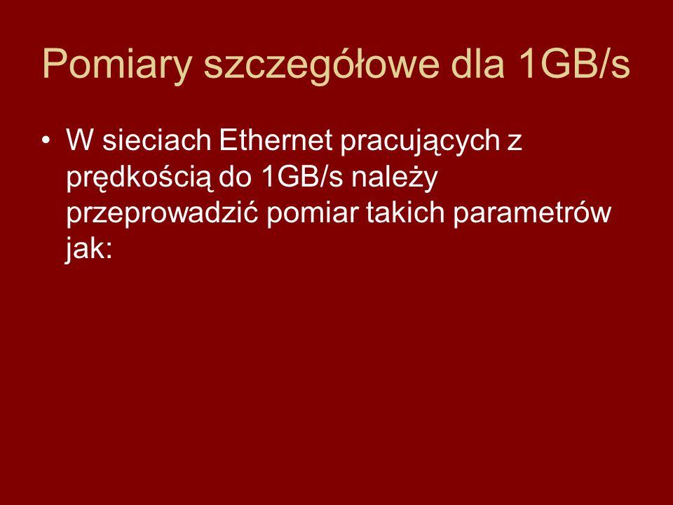 Pomiary szczegółowe dla 1GB/s W sieciach Ethernet pracujących z prędkością do 1GB/s należy przeprowadzić pomiar takich parametrów jak: