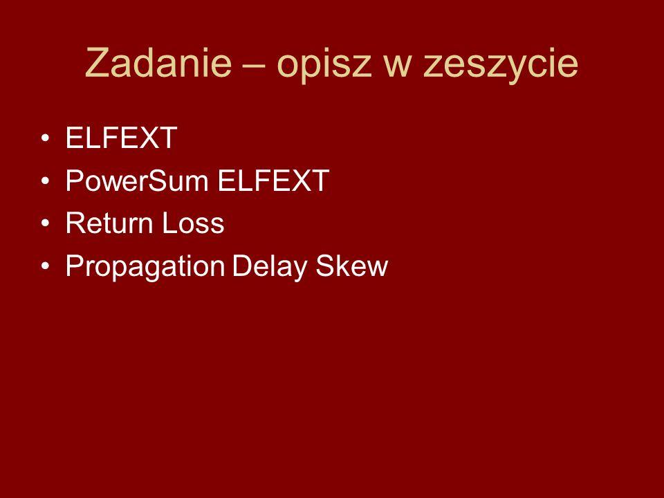 Zadanie – opisz w zeszycie ELFEXT PowerSum ELFEXT Return Loss Propagation Delay Skew