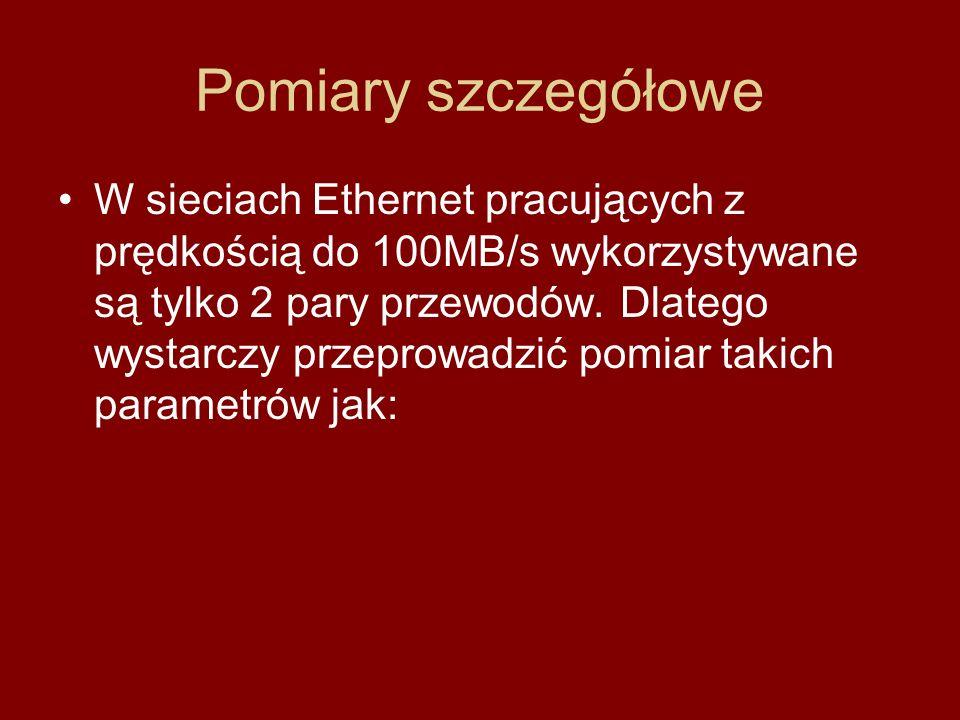 Pomiary szczegółowe W sieciach Ethernet pracujących z prędkością do 100MB/s wykorzystywane są tylko 2 pary przewodów. Dlatego wystarczy przeprowadzić