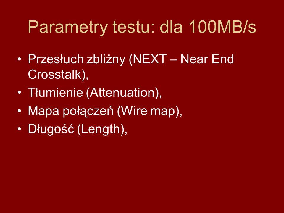 Parametry testu: dla 100MB/s Przesłuch zbliżny (NEXT – Near End Crosstalk), Tłumienie (Attenuation), Mapa połączeń (Wire map), Długość (Length),