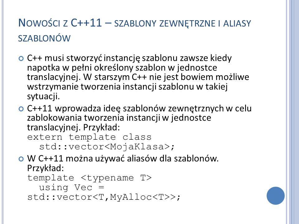 N OWOŚCI Z C++11 – SZABLONY ZEWNĘTRZNE I ALIASY SZABLONÓW C++ musi stworzyć instancję szablonu zawsze kiedy napotka w pełni określony szablon w jednostce translacyjnej.