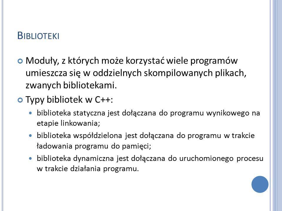 B IBLIOTEKI Moduły, z których może korzystać wiele programów umieszcza się w oddzielnych skompilowanych plikach, zwanych bibliotekami.