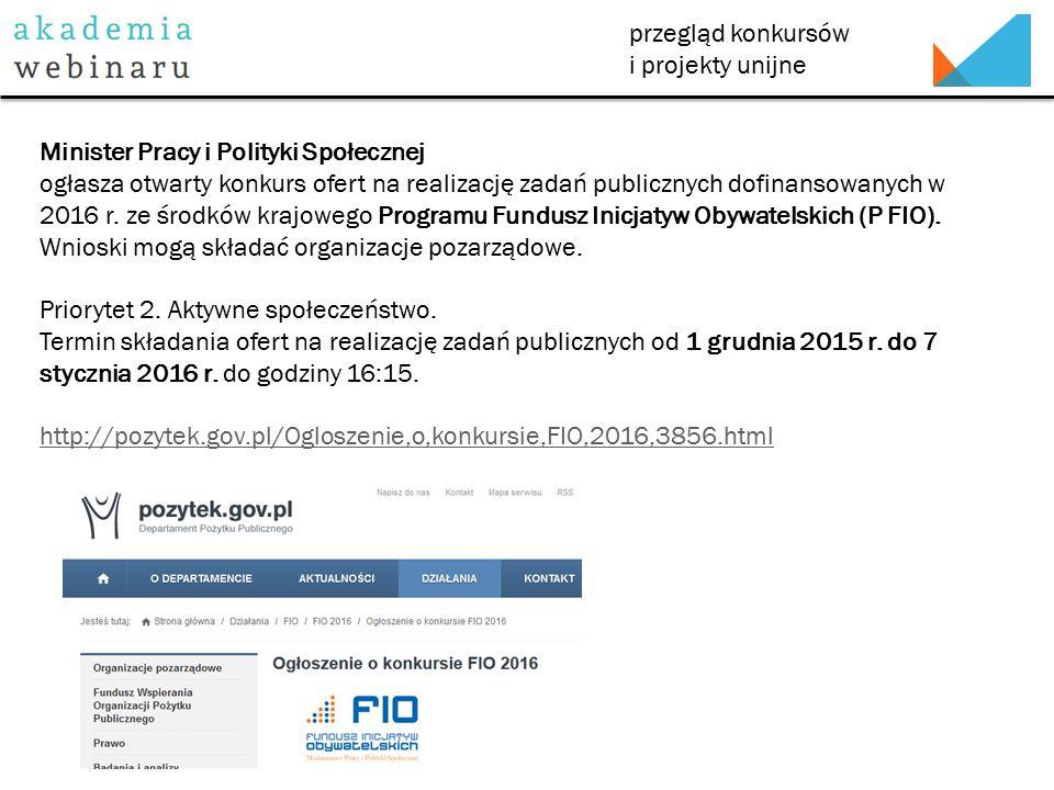 przegląd konkursów i projekty unijne Minister Pracy i Polityki Społecznej ogłasza otwarty konkurs ofert na realizację zadań publicznych dofinansowanych w 2016 r.