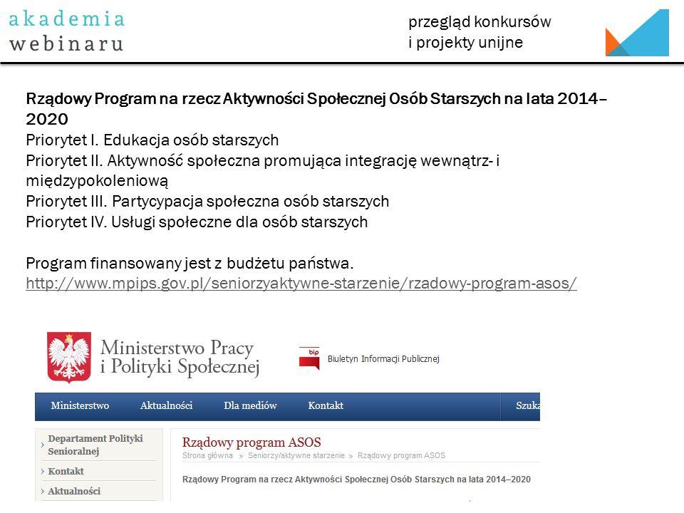 przegląd konkursów i projekty unijne Rządowy Program na rzecz Aktywności Społecznej Osób Starszych na lata 2014– 2020 Priorytet I.