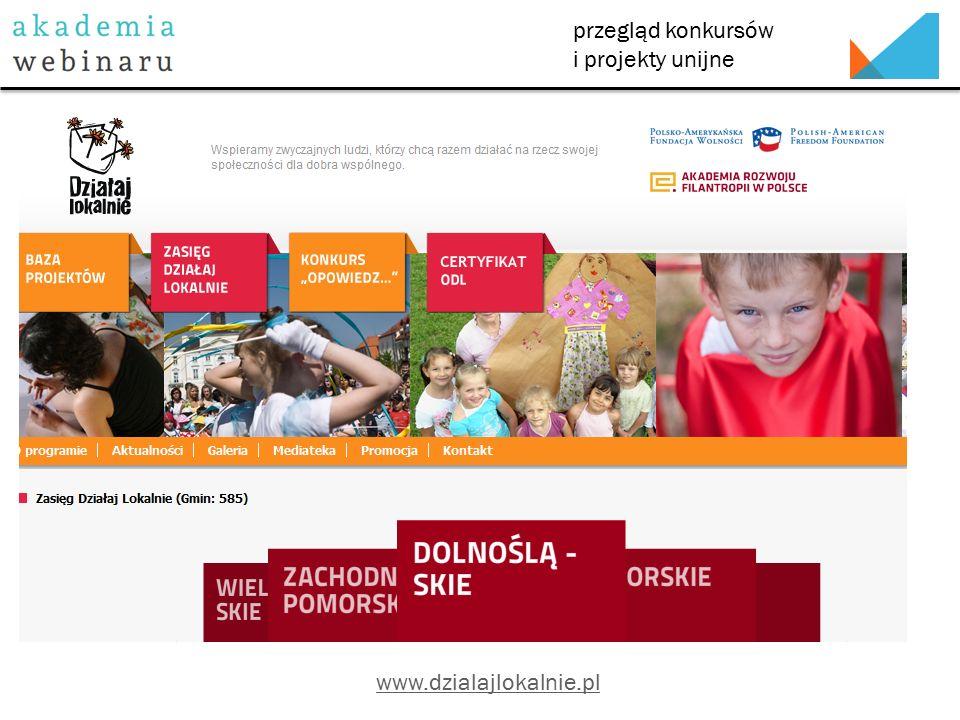przegląd konkursów i projekty unijne www.dzialajlokalnie.pl