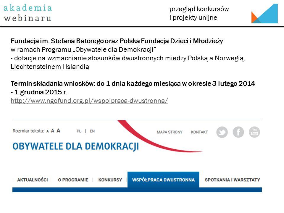 przegląd konkursów i projekty unijne Fundacja im.